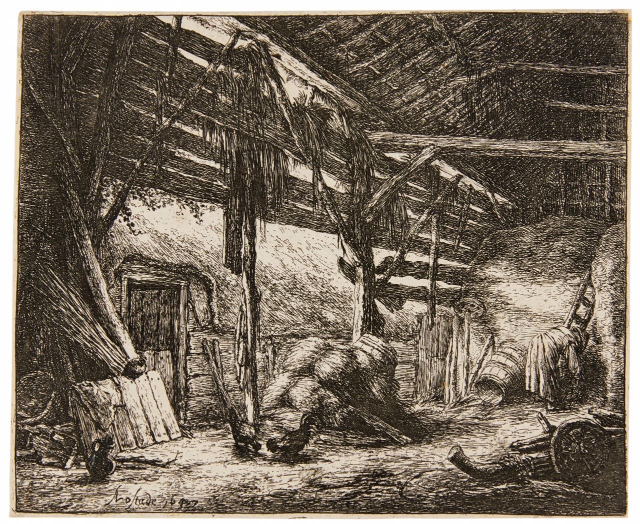Adriaen van Ostade. Die Scheune. 1647. Radierung.