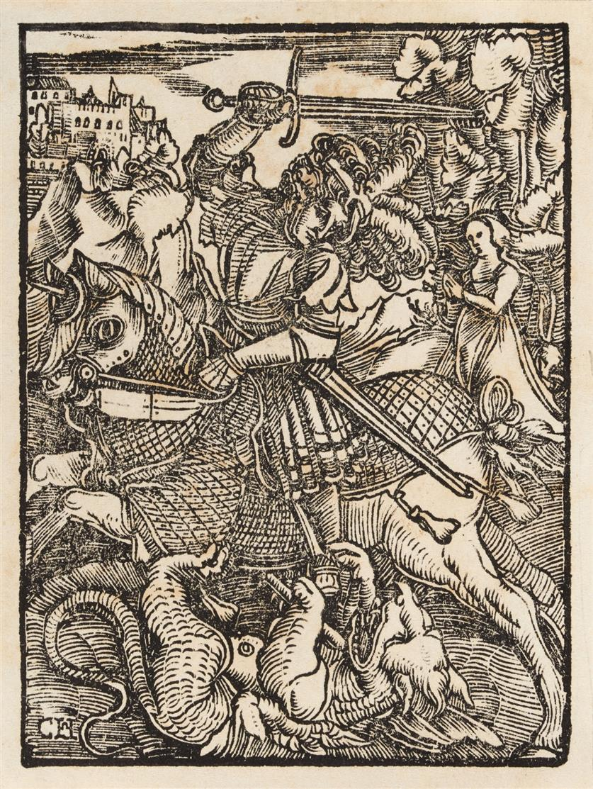 Monogrammist CH. Hl. Georg im Kampf mit dem Drachen. Holzschnitt.
