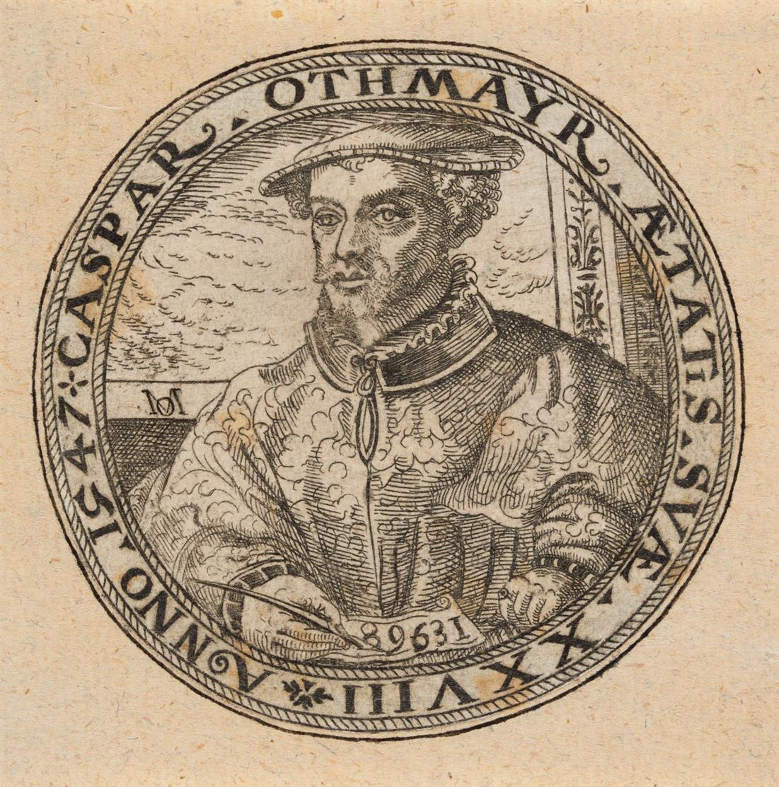 Michael Ostendorfer,  nach. Bildnis Caspar Othmayr. 1547. Radierung. Gleichs. Kopie.