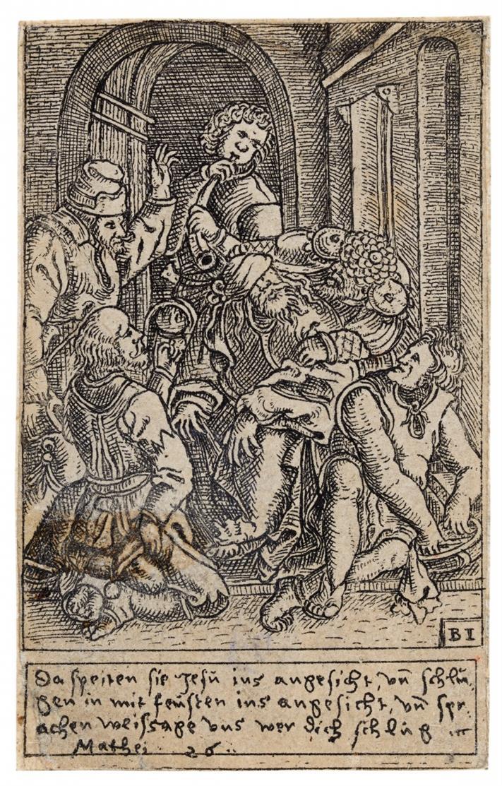 Balthasar Jenichen. Verspottung Christi. (1568). Kupferstich aus Passionsfolge v. 12 Blatt.