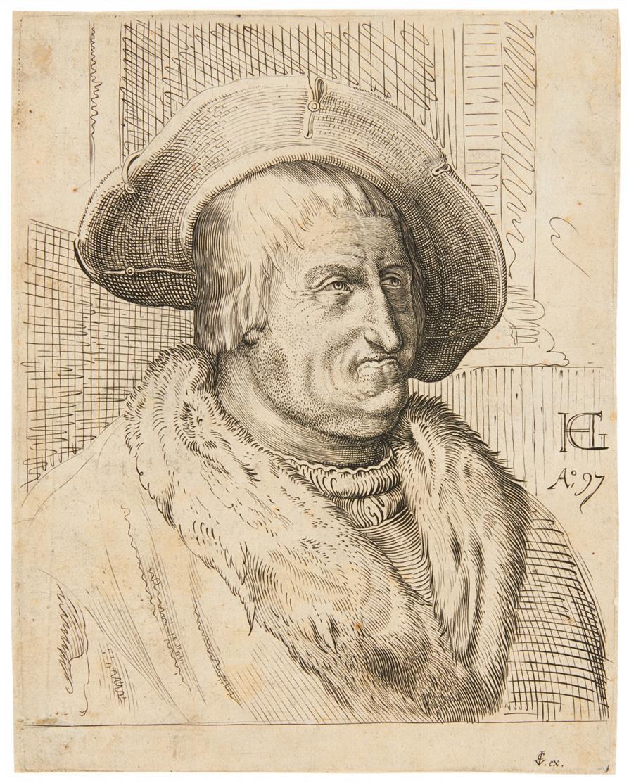 Hendrick Goltzius, nach. Porträt e. alten Mannes mit Hut. 2 Bll. Kupferstiche.