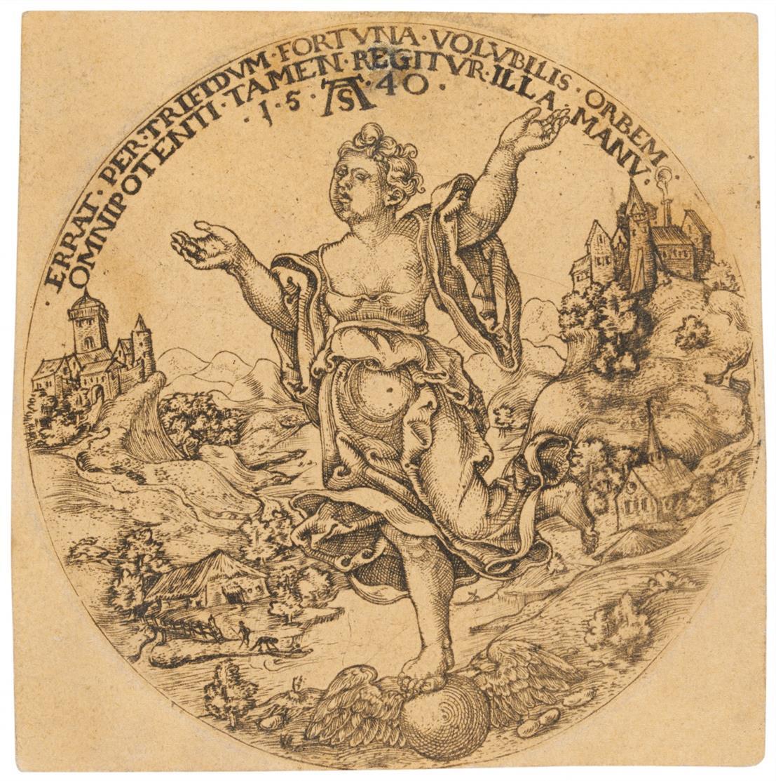 Monogrammist AS (um 1540). Fortuna, mit dem Fuß auf der Erdkugel. Kupferstich.