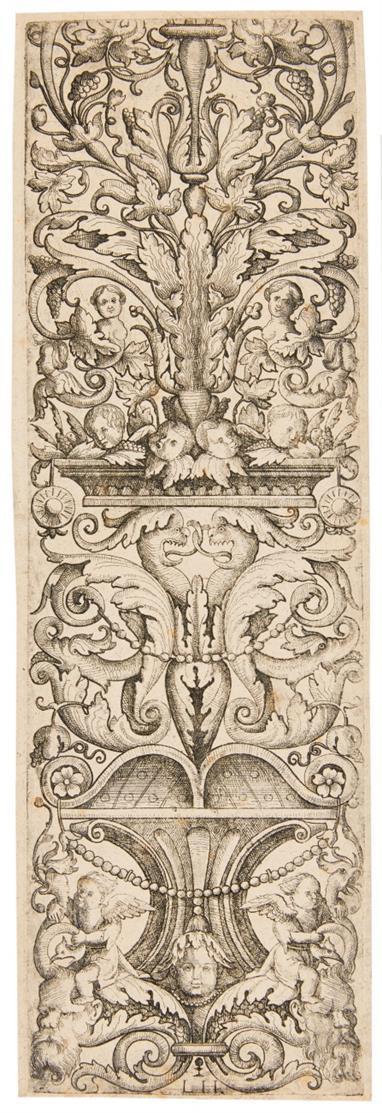Lambert Hopfer. Aufsteigendes Ornament mit Delphin- und Drachenköpfen. Kupferstich.