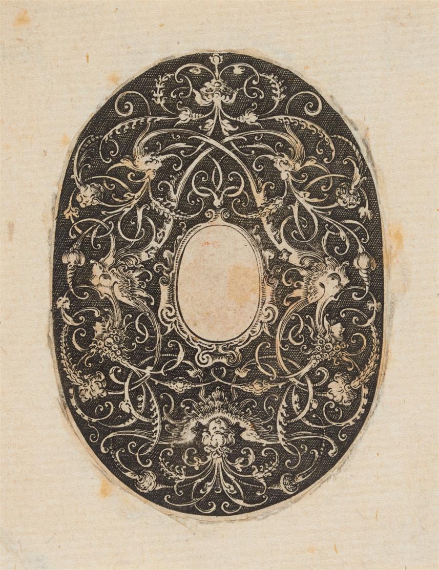 Hans (Hendrik) Janssen. Kleines ovales Ornament. Blatt 1 aus Folge von 4 Kupferstichen.