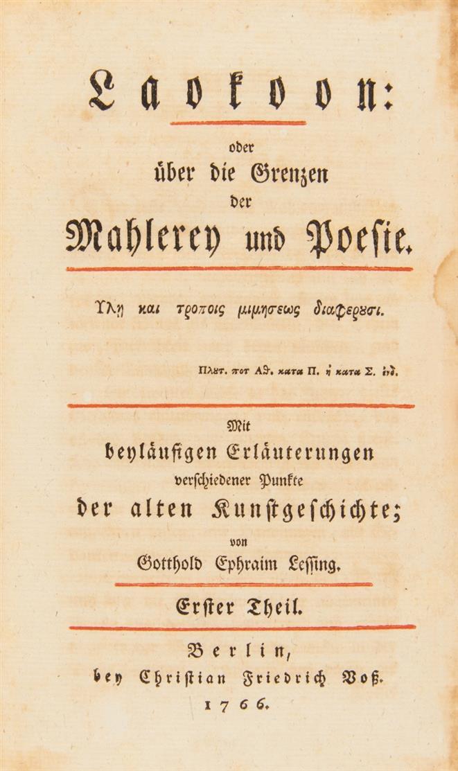 G. E. Lessing, Laokoon o. über d. Grenzen d. Mahlerey u. Poesie. Bd. 1 (alles). Bln 1766.