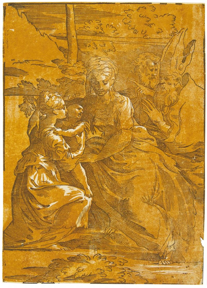 Andrea Andreani. Die Jungfrau mit Heiligen. Clair-obscur-Holzschnitt nach Parmigianino.