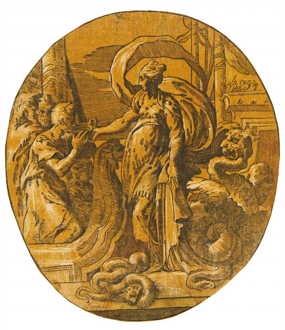 Antonio da Trento. Circe reicht den Gefährten des Odysseus einen Zaubertrank . Clair-obscur-Holzschnitt n. Parmigianino.