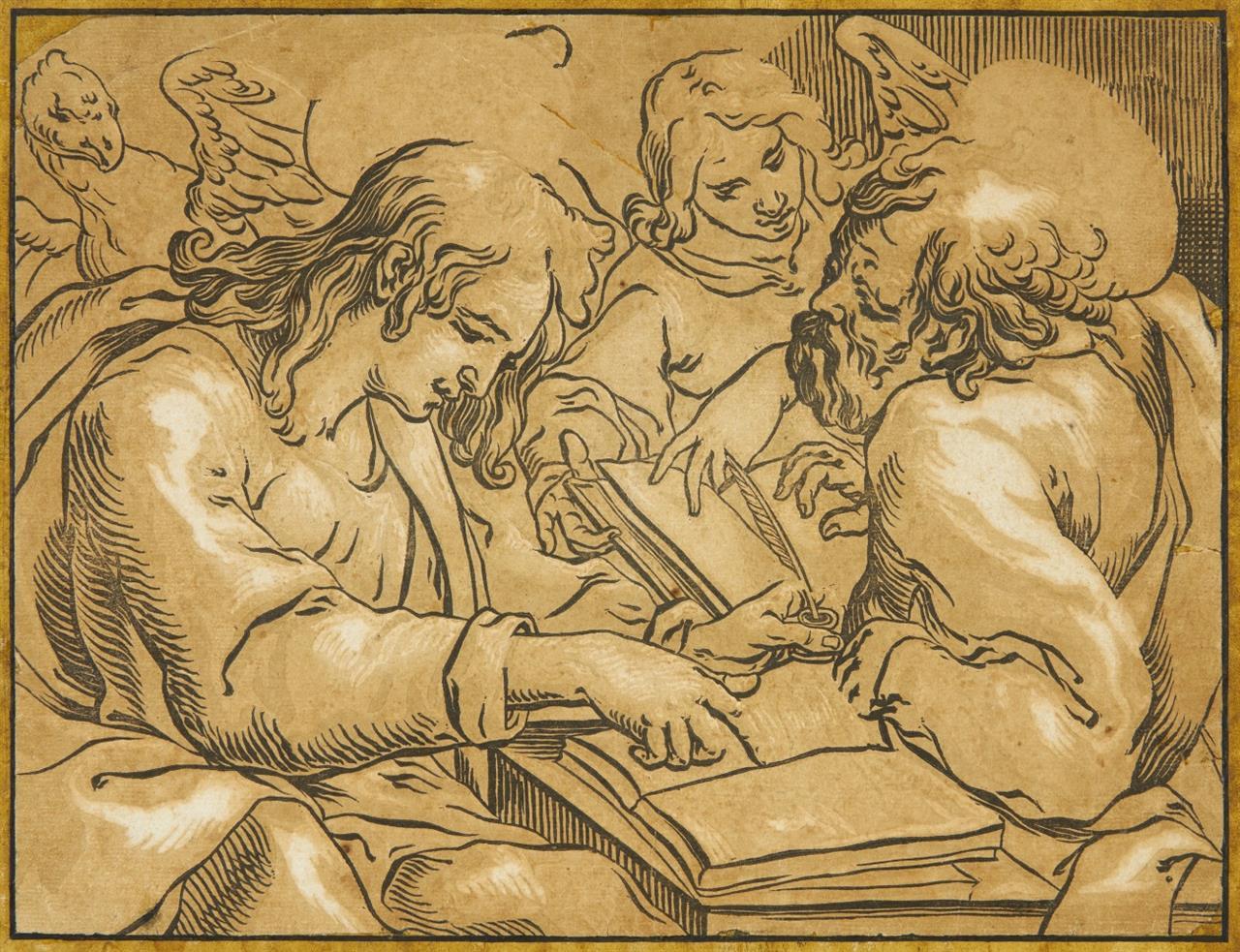 Georges Lallemand. Die Evangelisten Matthäus und Johannes. Clair-obscur-Holzschnitt.