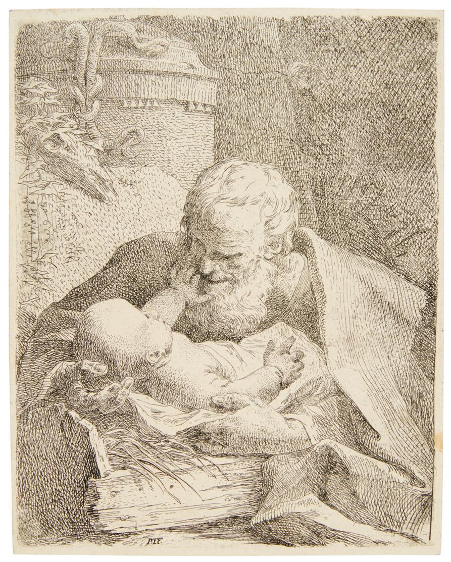 Paul Troger. Hl. Joseph mit dem Jesuskind. Radierung. Nagler Monogr. IV, 3330. 1.