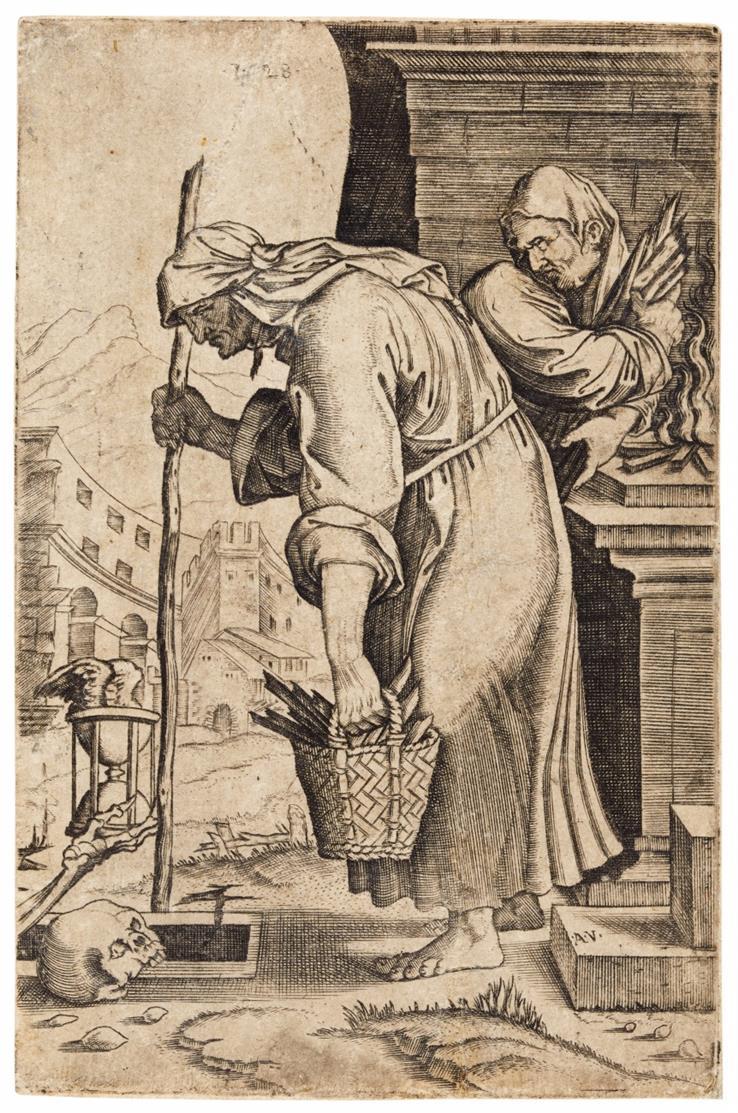 Agostino dei Musi (gen. Veneziano) n. Marcantonio Raimondi. Alte Frau. Kupferstich. Kopie.