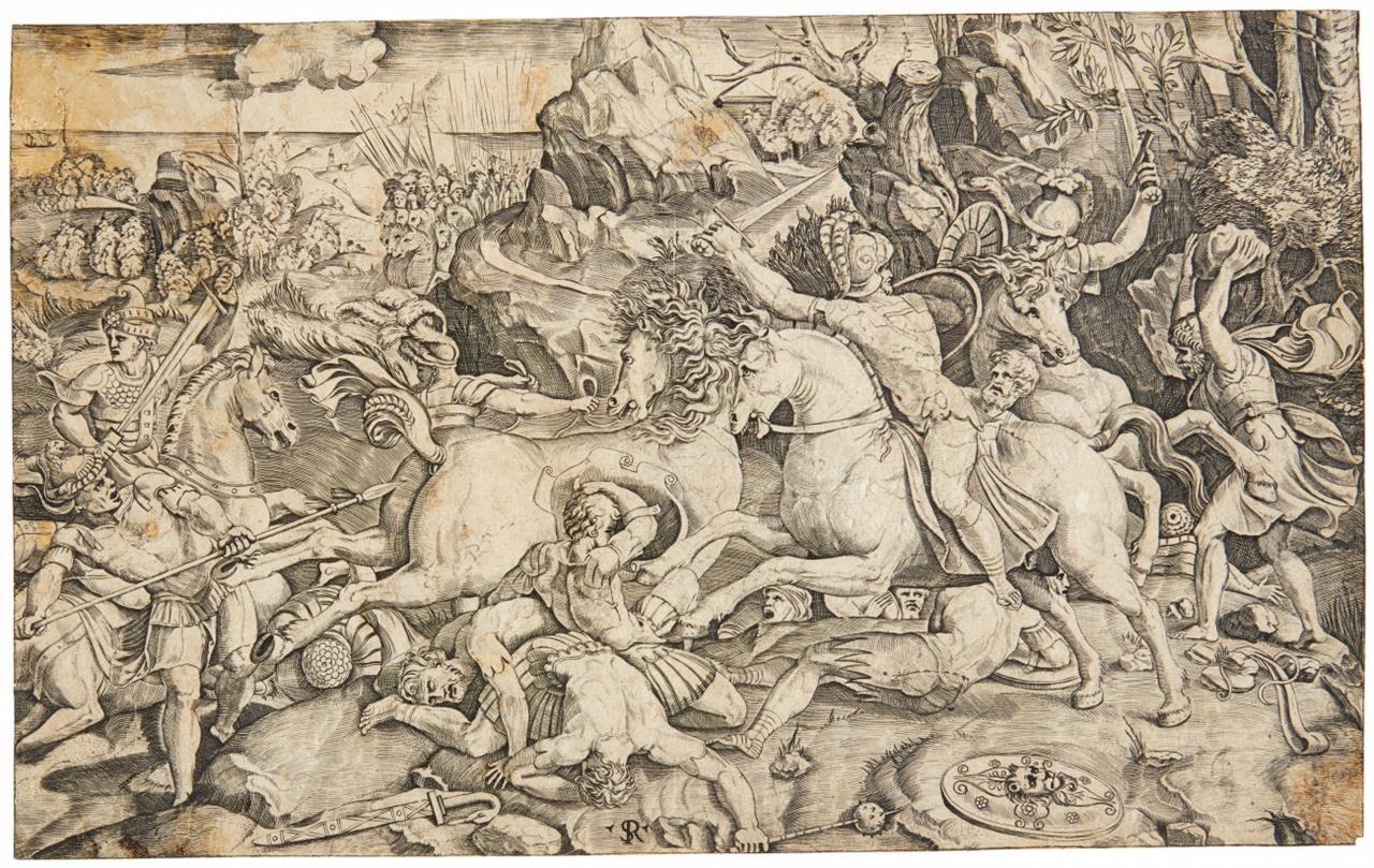 Marco Dente da Ravenna. Schlacht. Kupferstich nach Raphael o. Giulio Romano.