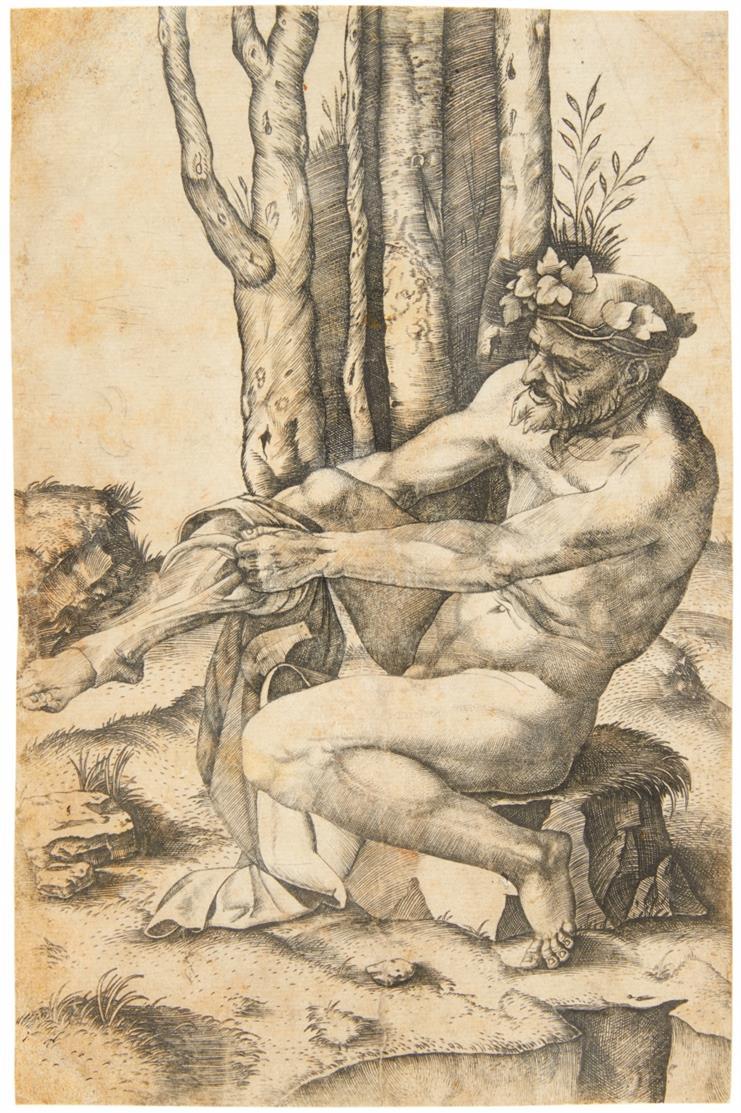 Marcantonio Raimondi. Nackter Mann, seine Hose anziehend. Kupferst. n. Michelangelo.