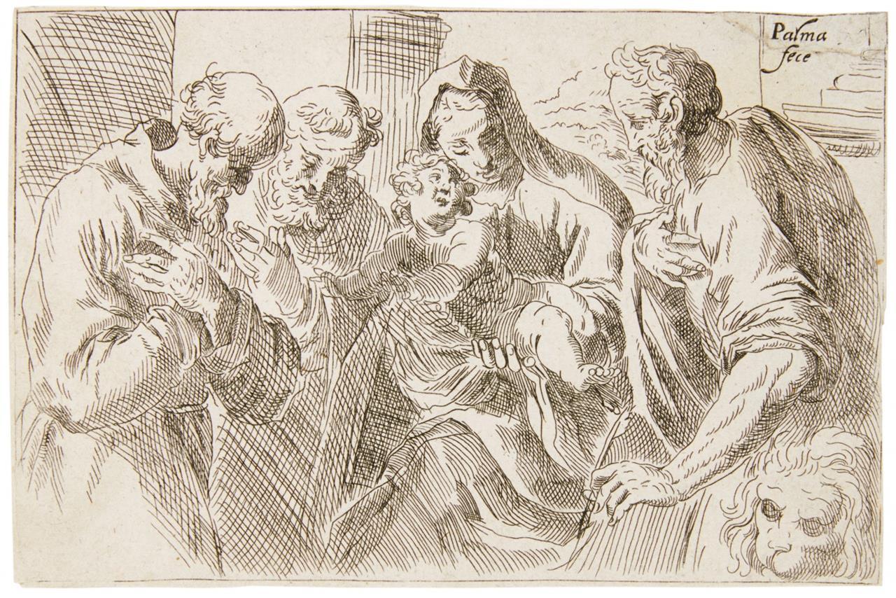 Jacopo Palma d.J. Die Hl. Familie mit Hl. Hieronymus u. Hl. Franziskus. Kupferstich.