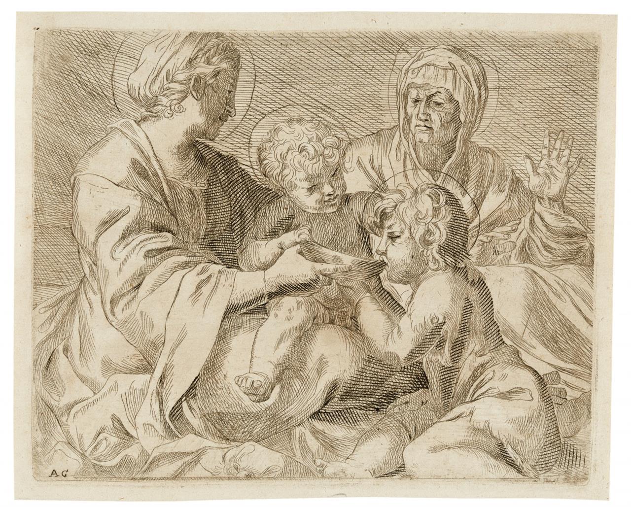 Annibale Carracci, Kopie nach. Madonna mit Kind u. Elisabeth mit Johannes. Kupferstich.