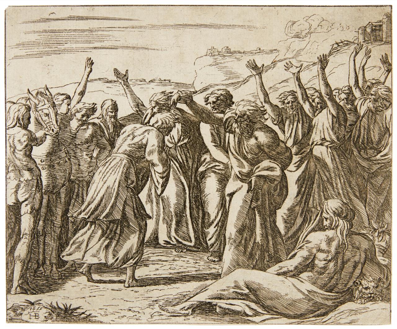 Orazio Borgianni. Salomon wird von Zadok gesalbt. Radierung n. Raphael. B 46.