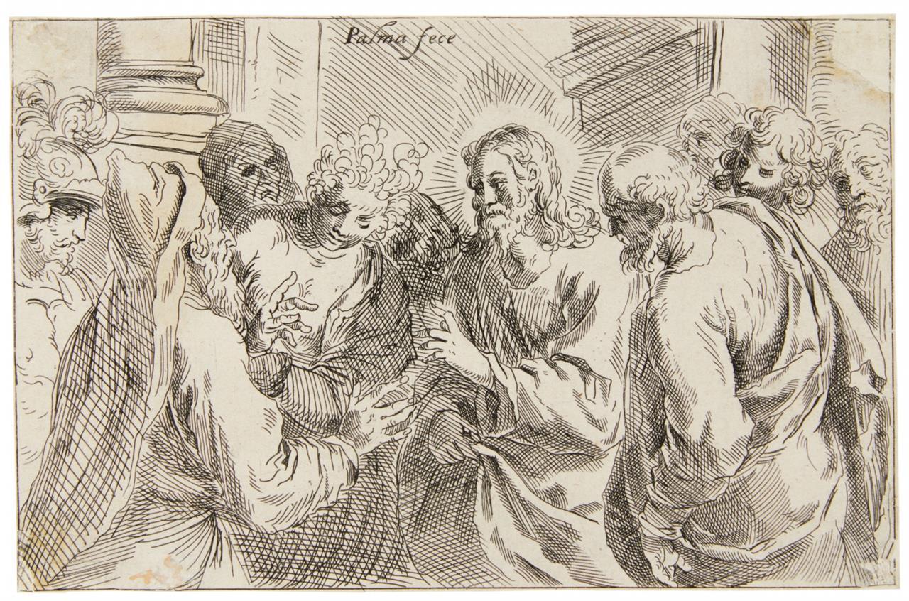 Jacopo Palma d.J. Christus und die Ehebrecherin. Kupferstich. B. 20.