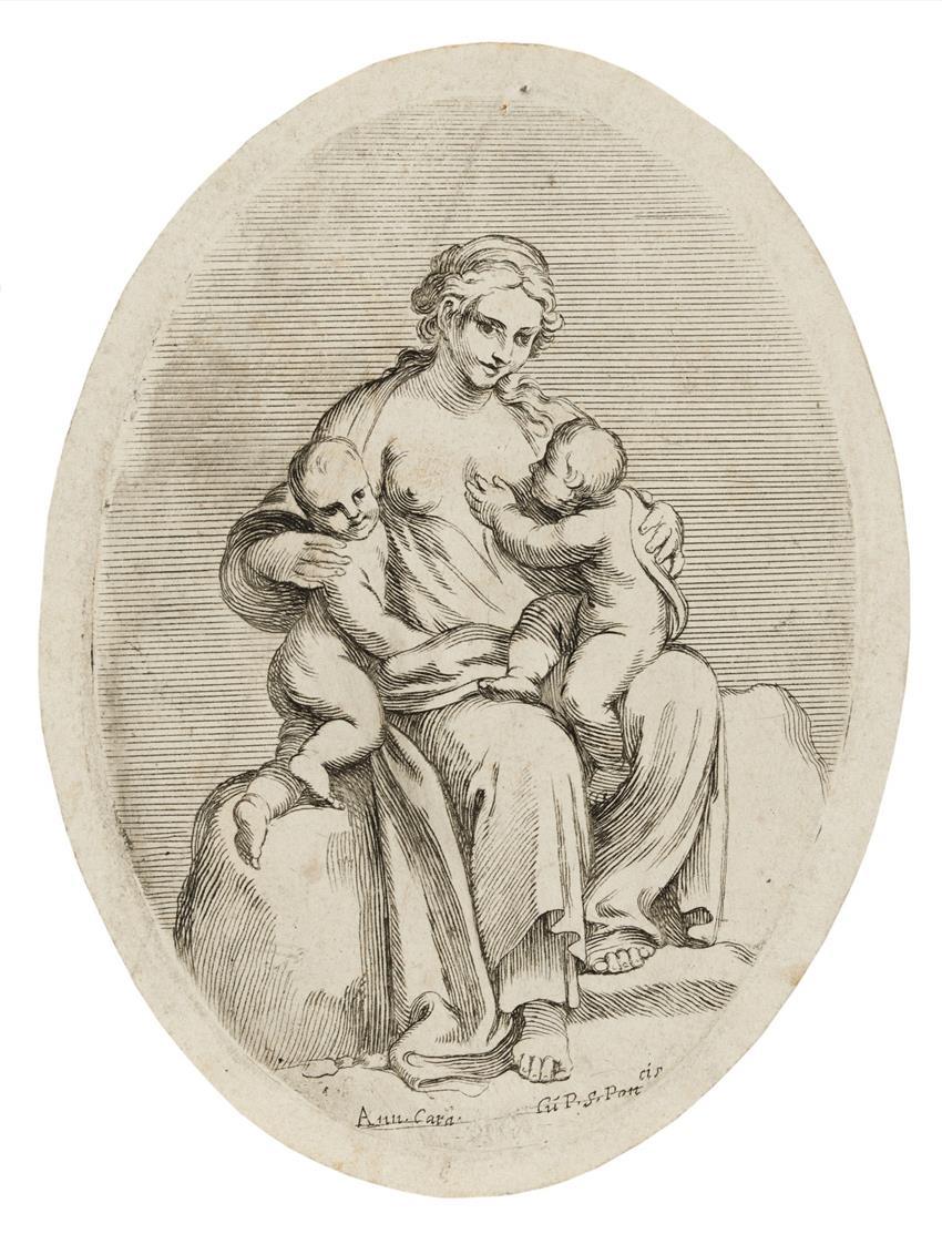Carlo Cesio. Caritas. Radierung nach Fresken von Annibale Carracci. B. 55, S1.
