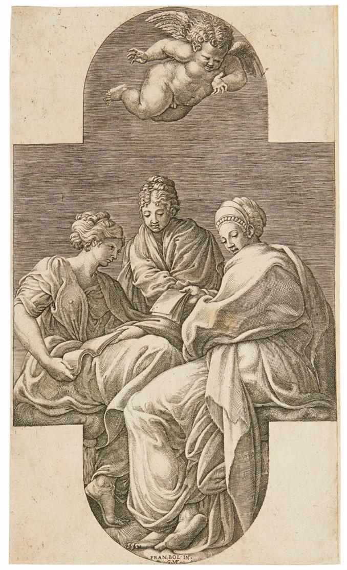 Giorgio Ghisi. Drei Musen und gestikulierender Amor. Kupferstich nach Primaticcio.