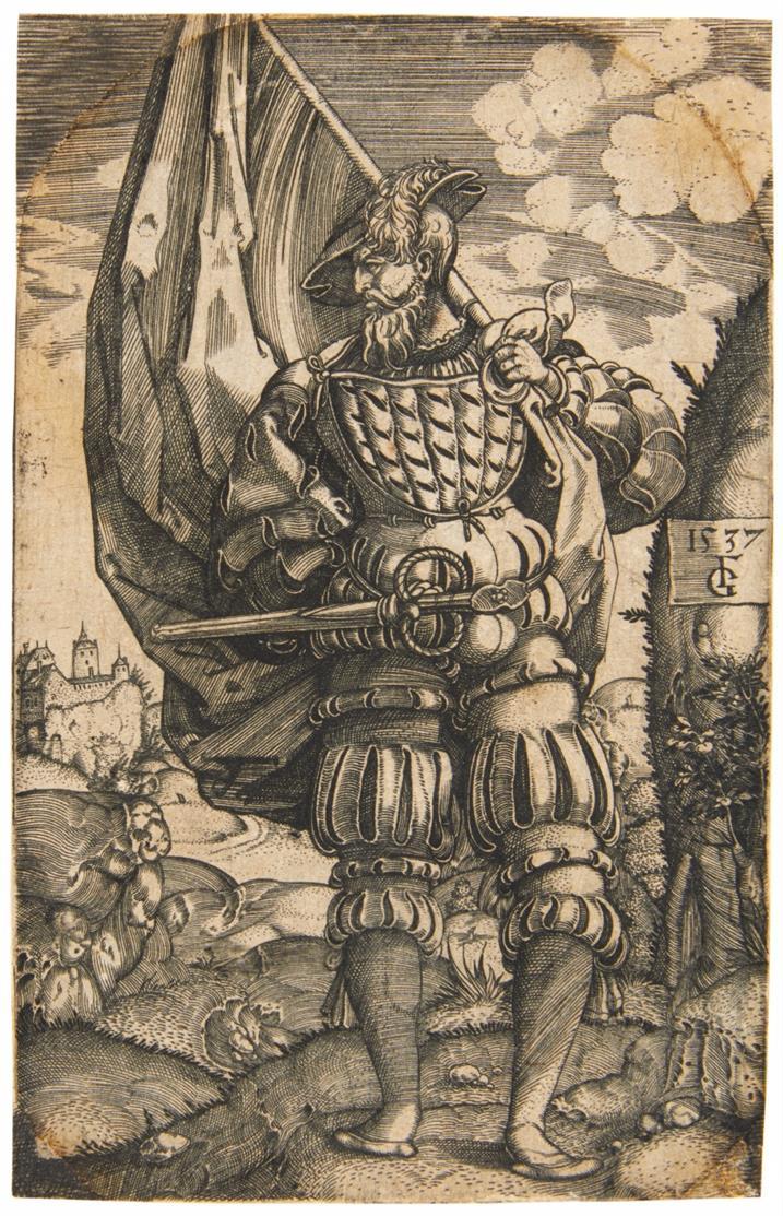 Monogrammist GF. Der deutsche Fähnrich. 1537. Kupferstich.
