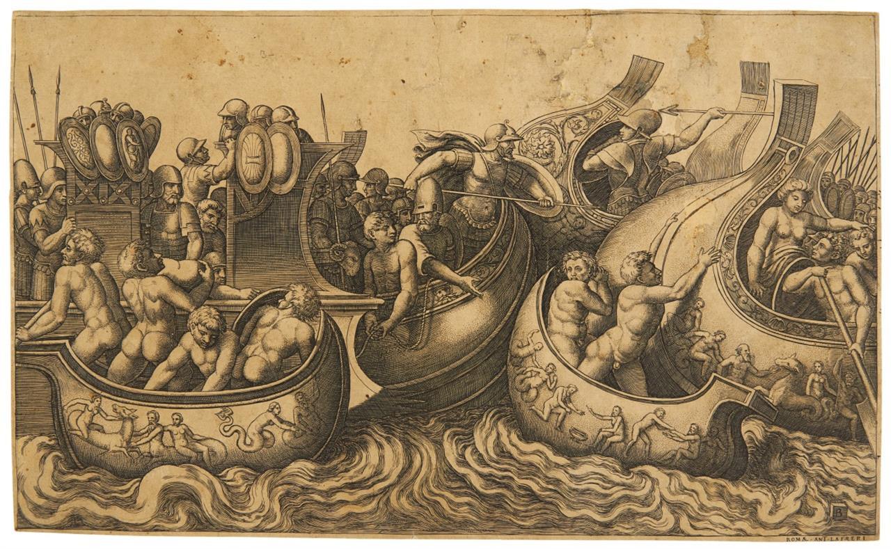 Meister mit dem Würfel. Seeschlacht. Kupferstich nach Polidoro Caldara. B. 78.