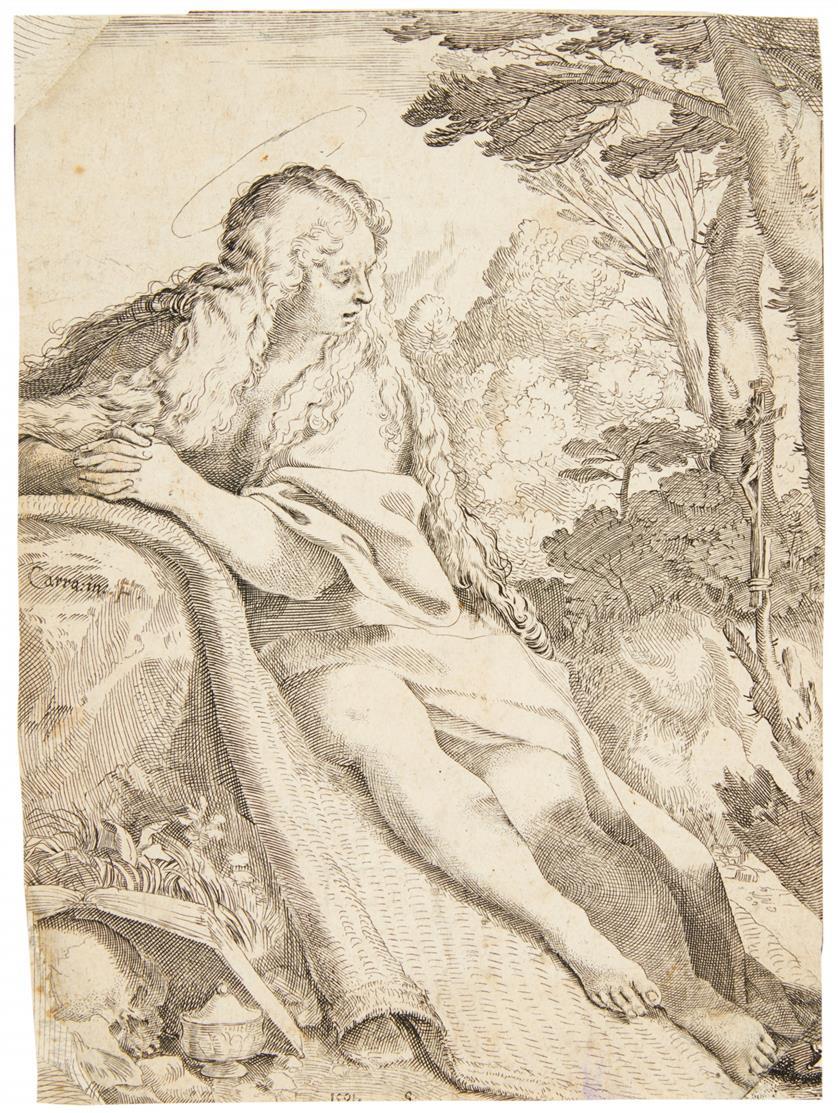 Annibale Carracci. Die büßende Maria Magdalena in der Wüste. 1591. Kupferst. 2 Ex.