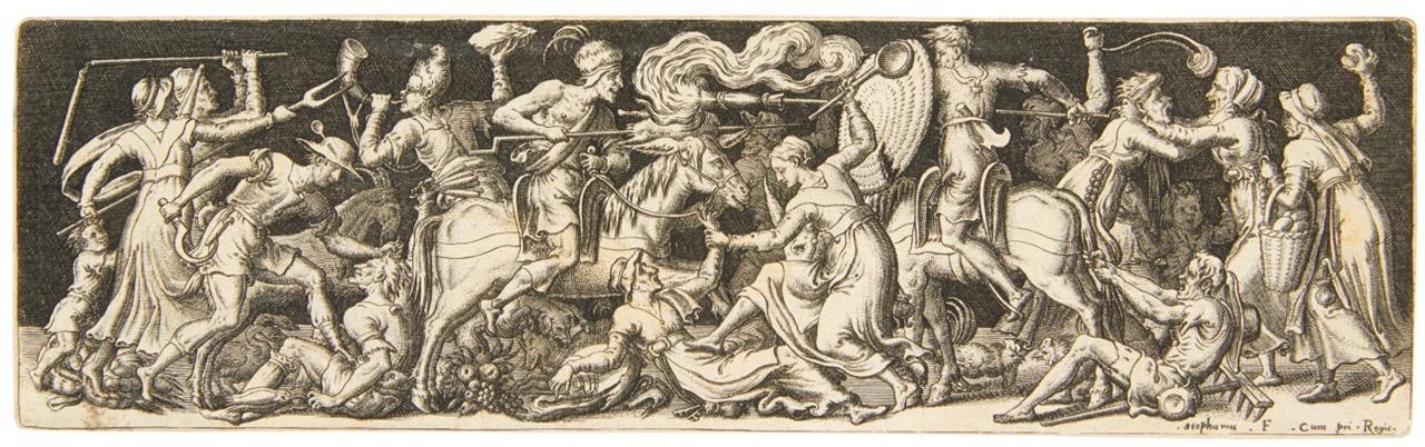 Etienne Delaune. Combat grotesque, Mêlée d'hommes nus, Jagdszene, u.a.. 5 Kupferst.
