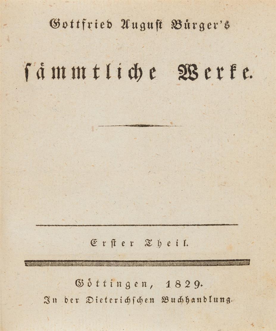 G. A. Bürger, Sämmtliche Werke. 8 Bde. Göttingen 1829-33.