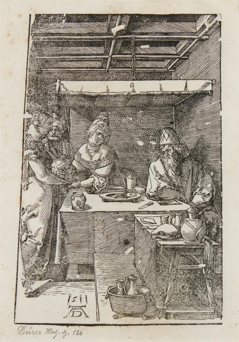 Albrecht Dürer. Herodias empfängt das Haupt des Johannes. 1511. Holzschnitt.