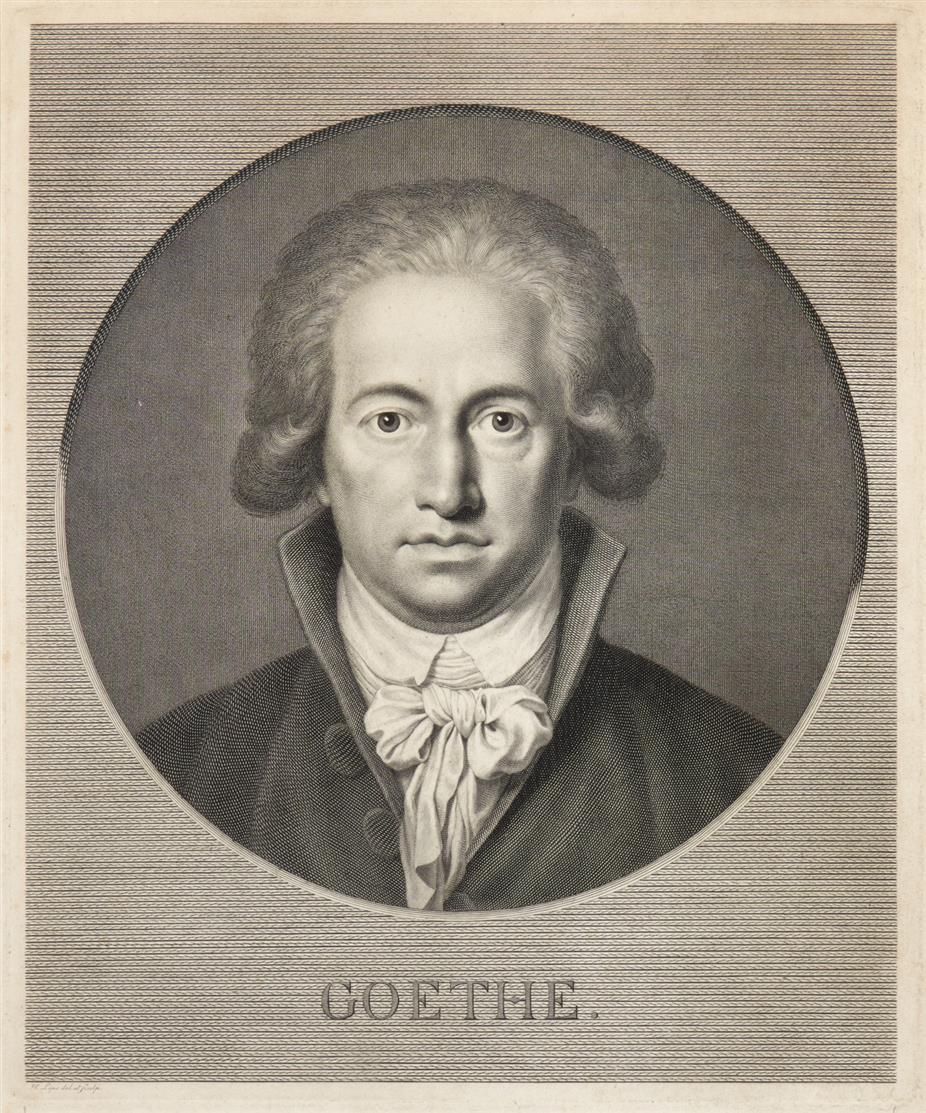 Johann Wolfgang von Goethe. Brustbild im Rund. Kupferstich von J.H. Lips, um 1791-92.