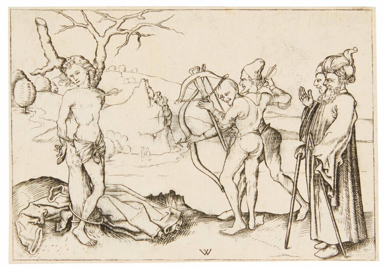 Wenzel von Olmütz. Martyrium des Hl. Sebastian.Kopie des 18. Jhs. Kupferstich.