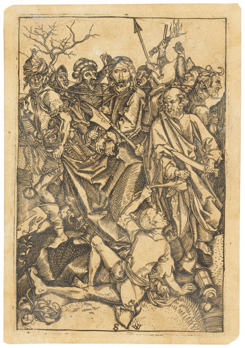 Monogrammist SW, um 1520. Gefangennahme Christi. Kupferstich, später Abzug.