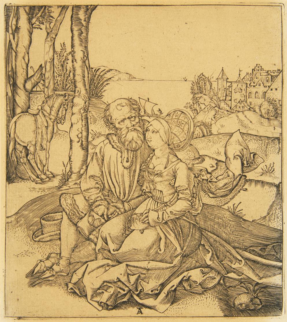 Albrecht Dürer, Kopie n. Der Liebesantrag (Das ungleiche Paar). Kupferst. Später Druck.