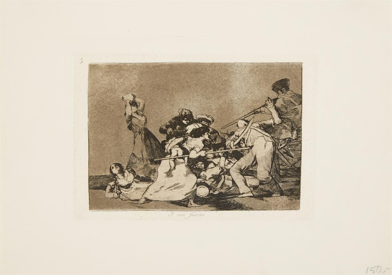 Francisco de Goya. Y son fieras (aus: Los Desastres de la Guerra). Aquatintaradierung.