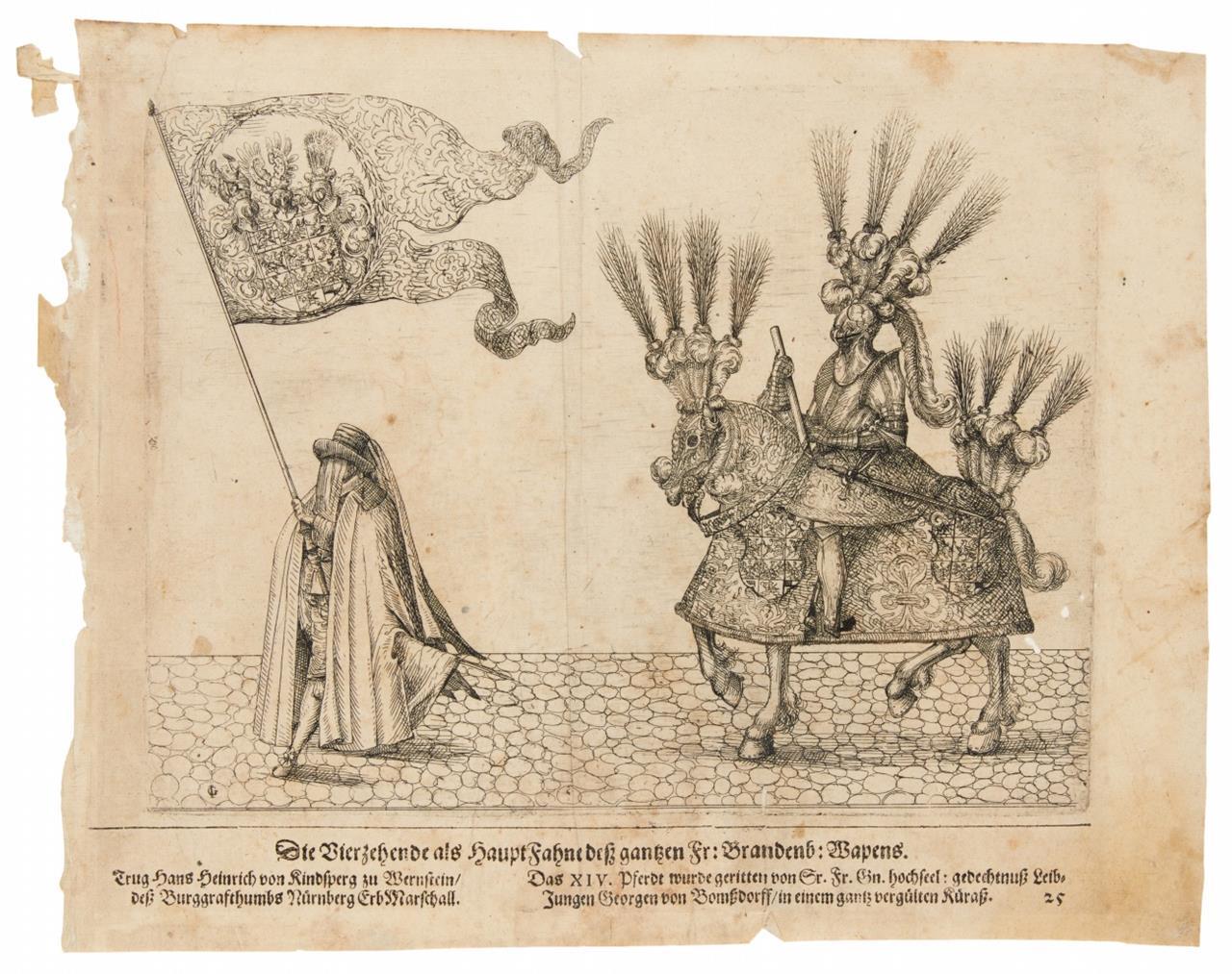 Leichenzug Georg Friedrich I., Markgr. v. Brandenbg.-Ansbach. 2 Bll. Kupferstich. 1603.