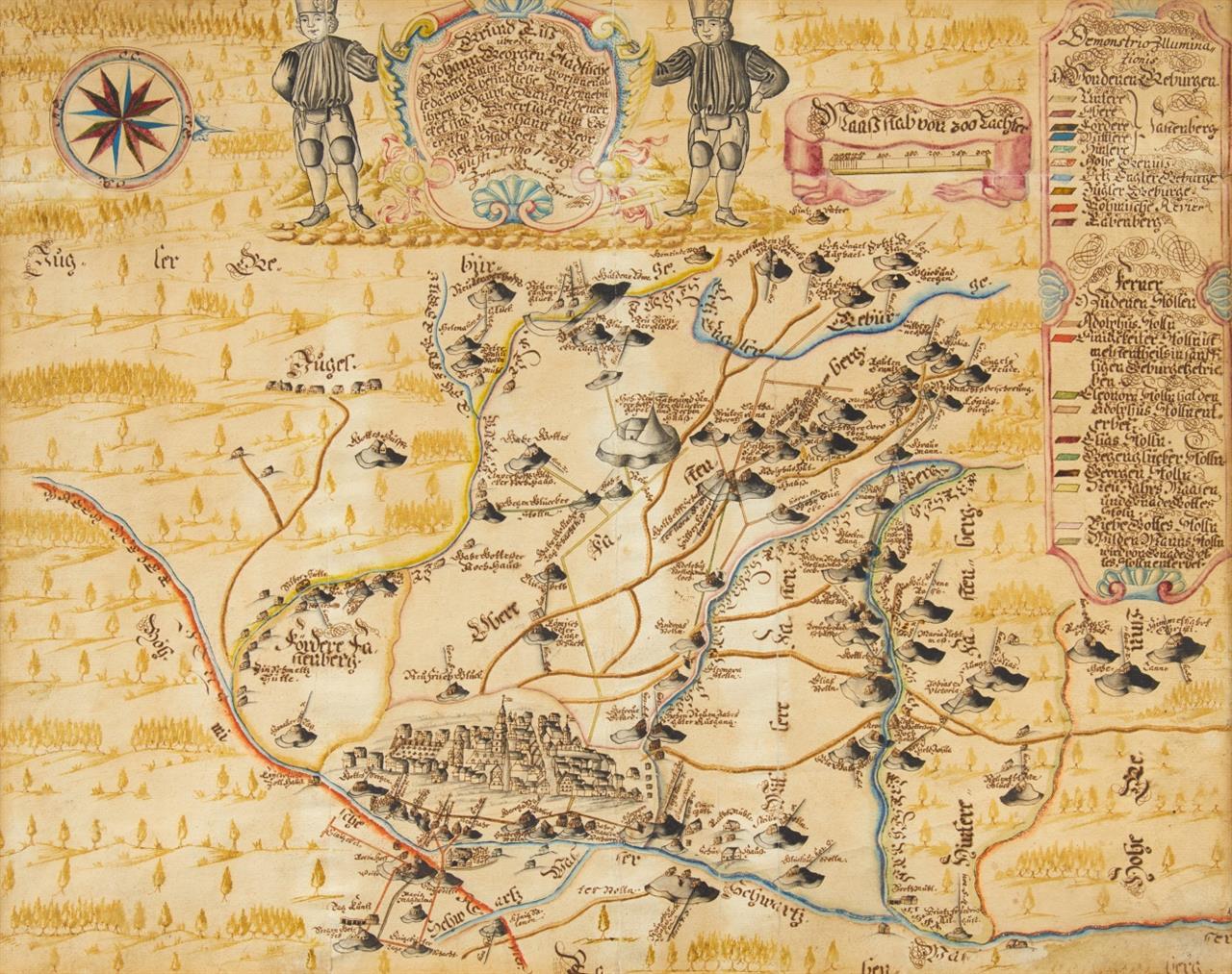 Bergbau. - Erzgebirge. Johanngeorgenstadt. Aquarellierte Zeichnung von J. Gabriel. 1739.