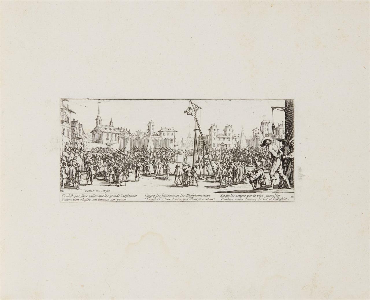 Jacques Callot. Les Miseres et les Mal-Heurs de la Guerre. 1633. Komplette Folge von 18 Blatt Radierungen, in Album montiert.