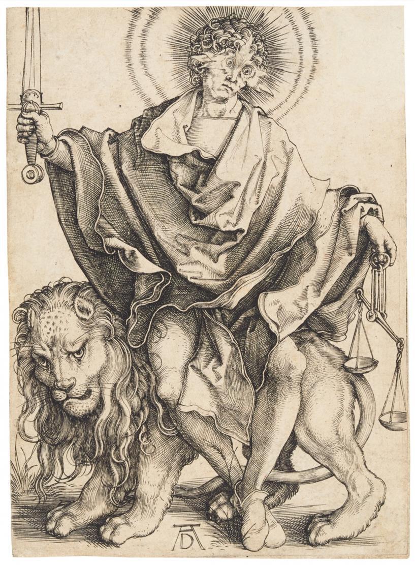 Albrecht Dürer. Sol Iustitiae (Sonne der Gerechtigkeit). Um 1499. Kupferstich. Bartsch 79; Meder 73 c.