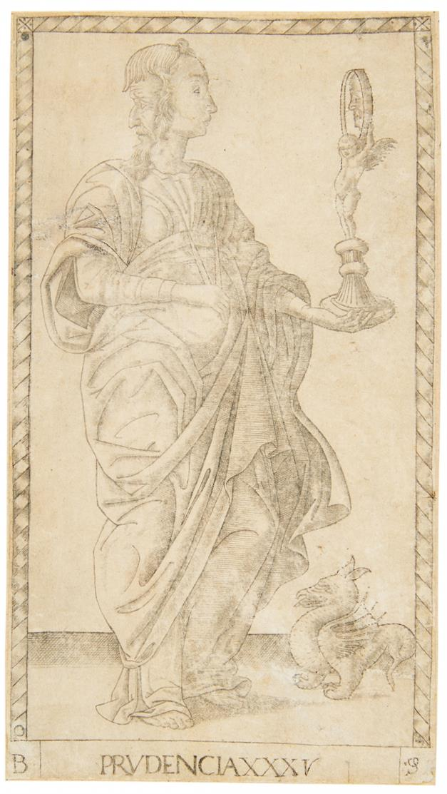 Italienisch, um 1450. Prudentia. Kupferstich.