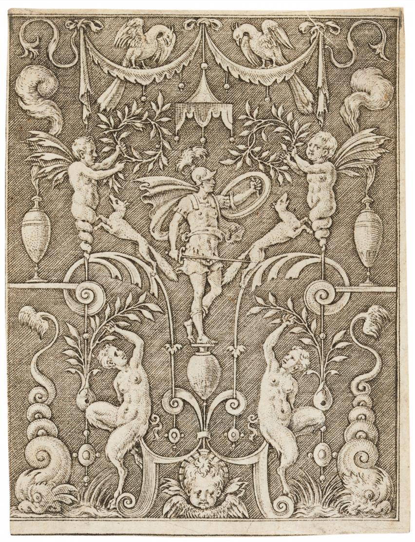 Etienne Delaune. Mars (Ornamentstich). Kupferstich.