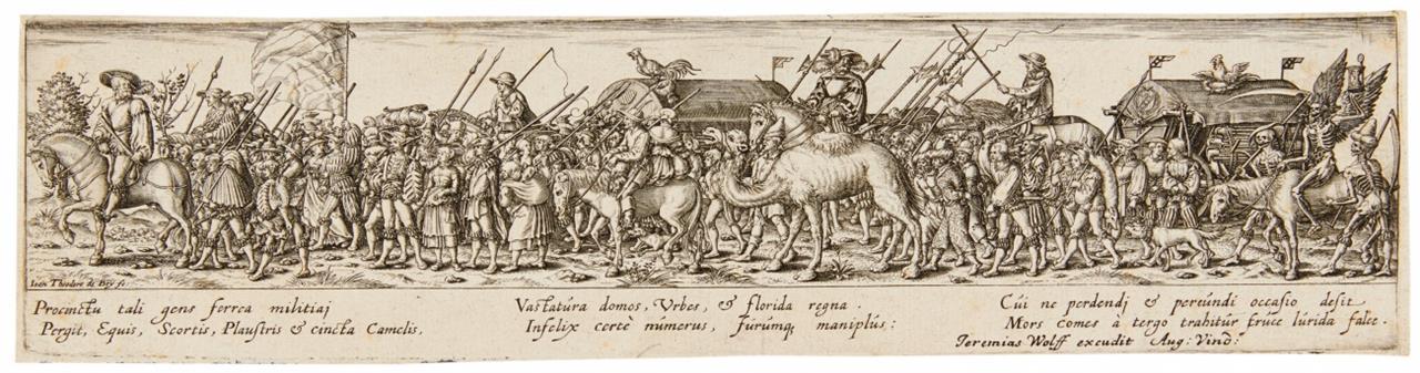 Jan Theodor de Bry. Soldatenzug, in der Mitte Arsenalwagen. Kupferstich. H. 28.