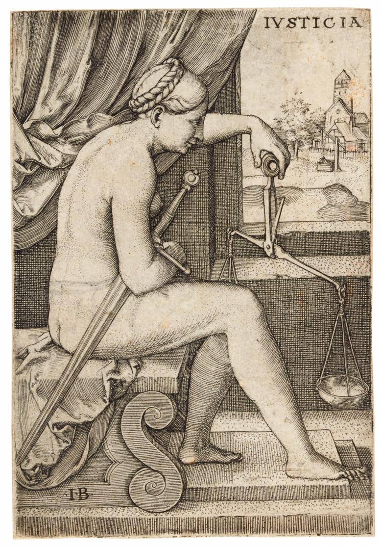 Monogrammist IB. Iusticia. Kupferstich aus Folge der Tugenden. B. 26.