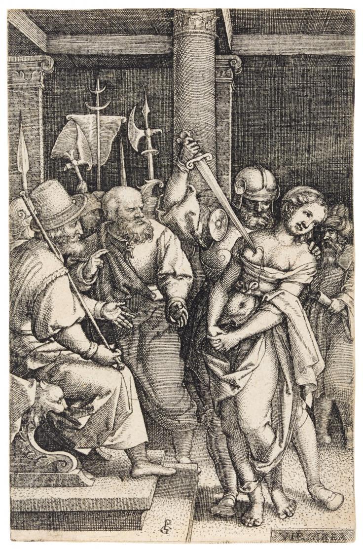 Georg Pencz. Virginia, von ihrem Vater erdolcht. Kupferstich. H. 125; B. 84.
