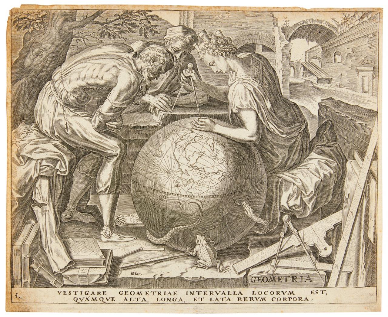 Frans Floris. Septem Artes liberales. Titel und 5 Blatt Kupferstiche aus d. Folge.