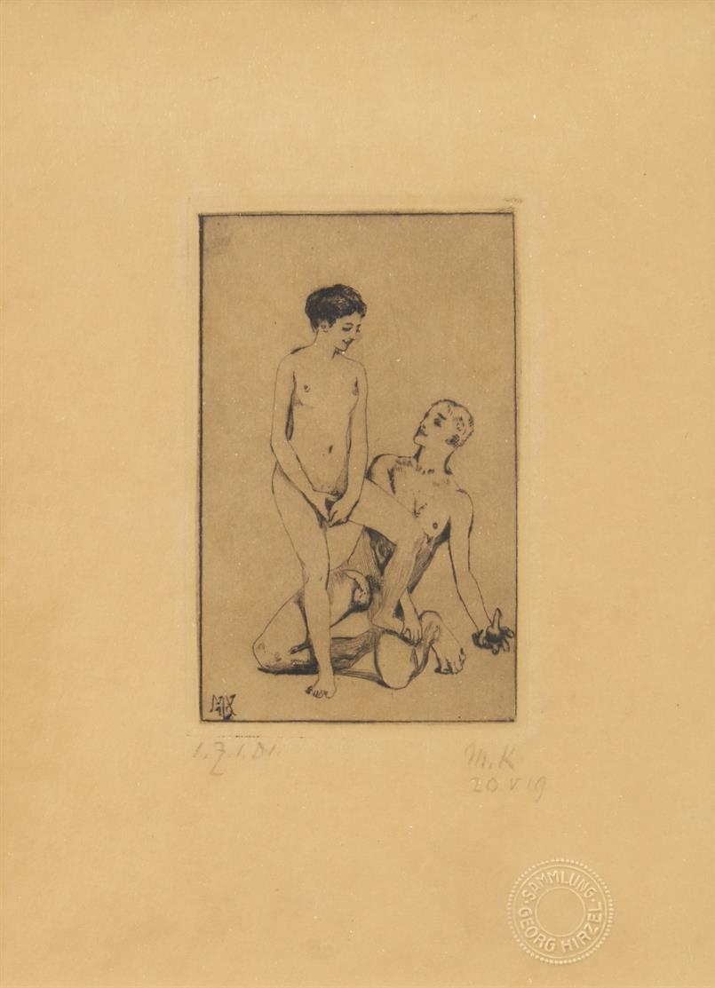 Max Klinger. Das Stehauf-Männchen (Erotisches Blatt II). Radierung.Trockenstempel.