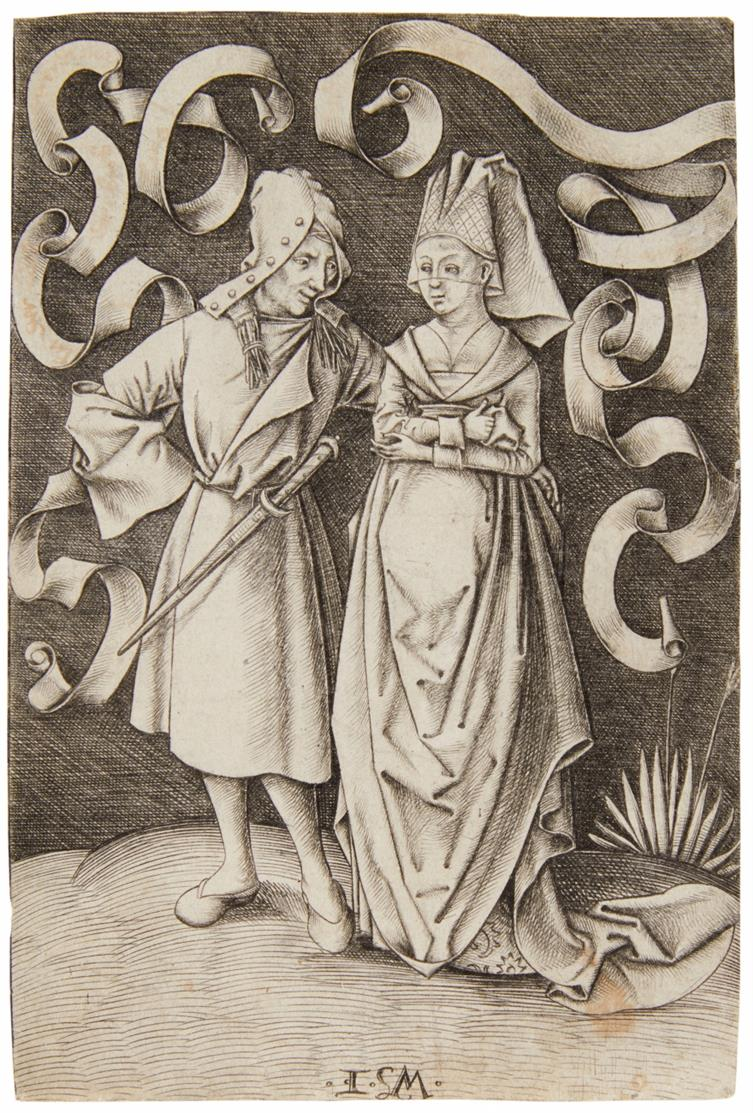 Israel van Meckenem. Das ungleiche Paar. Kupferstich. B. 171, H.502.