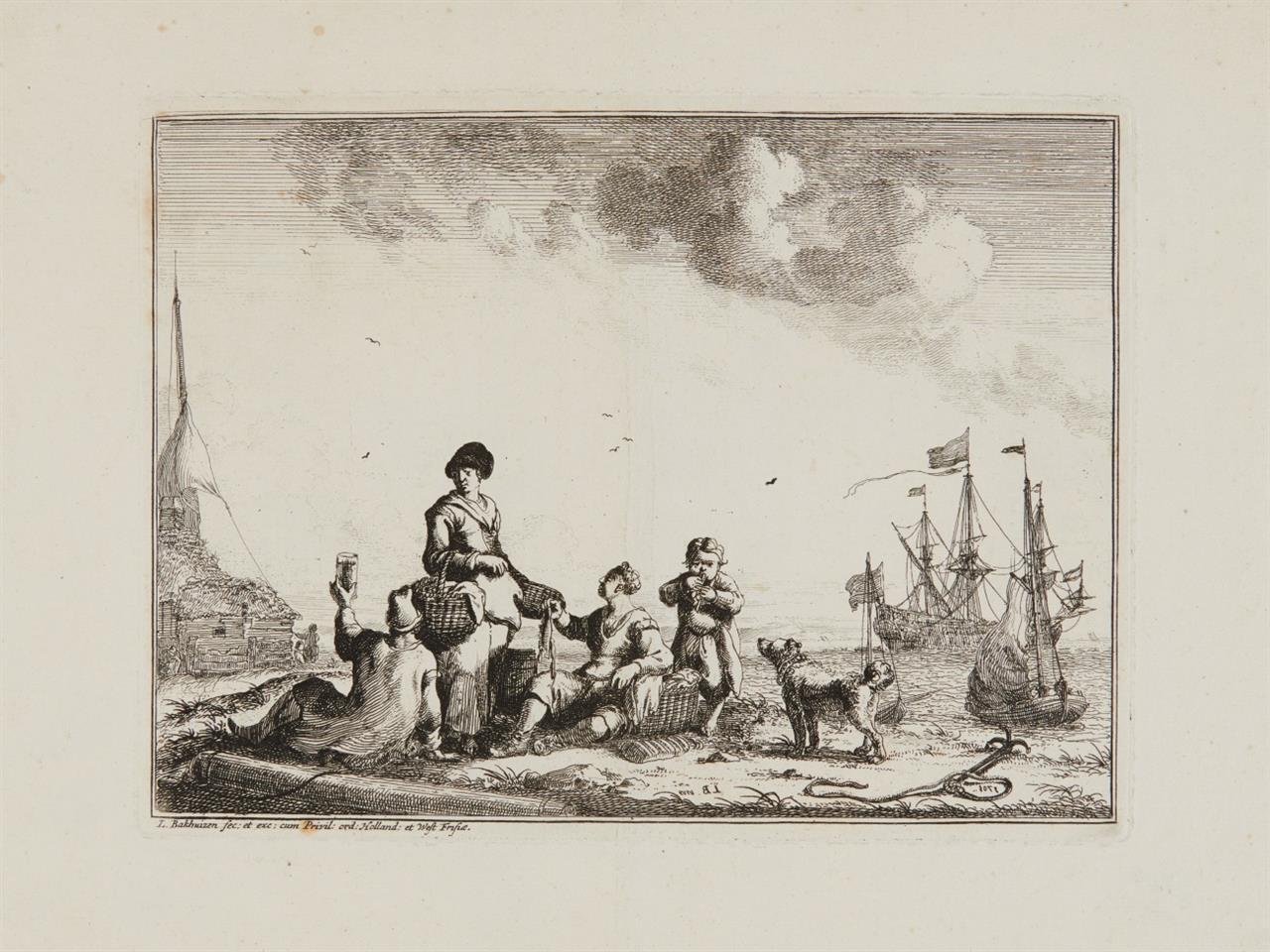 Ludolf Bakhuizen. Rastende Fischer am Meeresstrand. 1707. Radierung. H. 2 III.