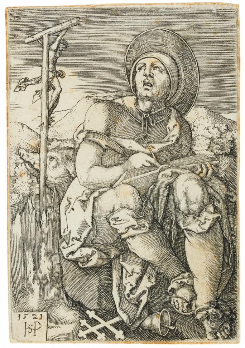 Hans Sebald Beham. St. Antonius der Einsiedler. 1521. Kupferstich. B. 64.