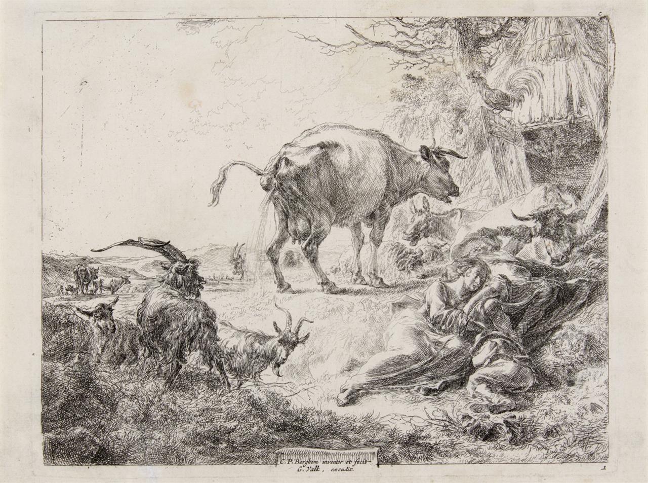 Nicolaes Berchem. Die pissende Kuh. Um 1660. Radierung. H. 2 IV.