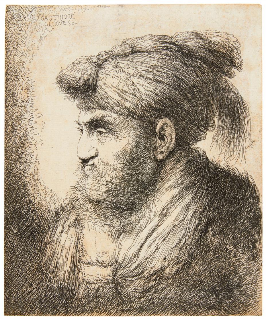 Giovanni Benedetto Castiglione. Porträt e. Mannes mit Bart u. Schnurrbart. Radierung.