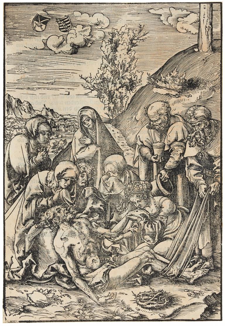 Lucas Cranach d.Ä. Die Beweinung. 1509. Holzschnitt aus der Passion. B. 18; H. 21.